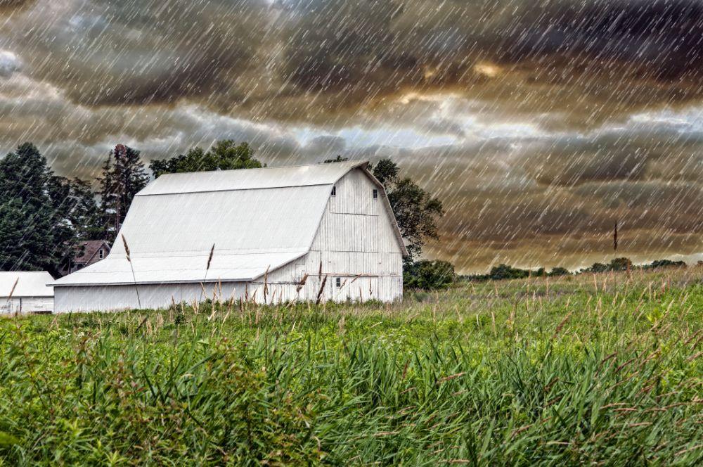 Photo in Landscape #rain #barn #farm