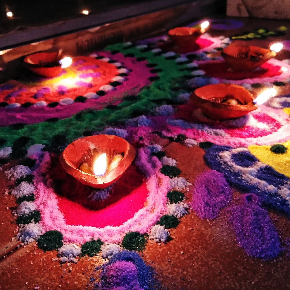 Photo in Random #diwali #rangoli #culture #indian #colors #lights #occasion #vivo