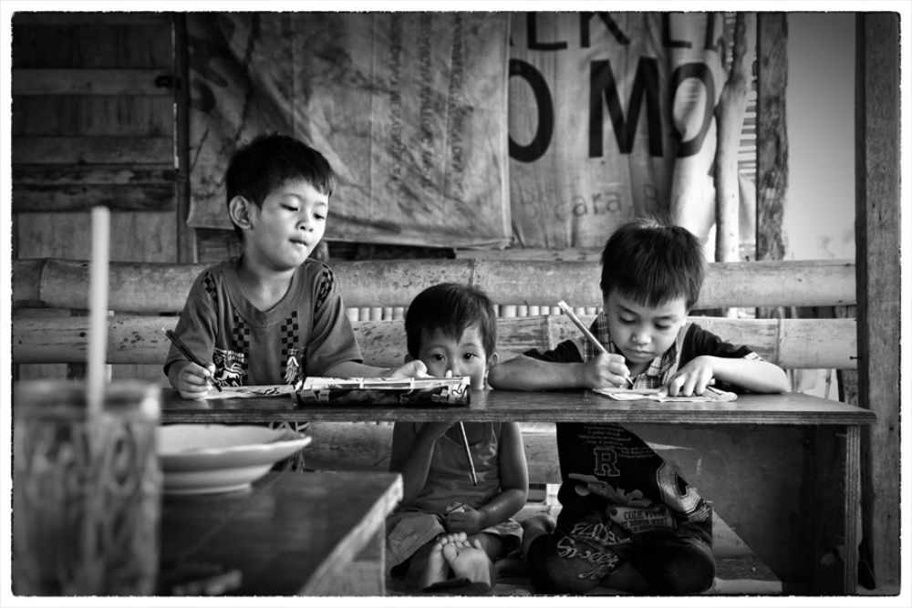 Photo in Black and White #kids #kid #child #children #learning #reading