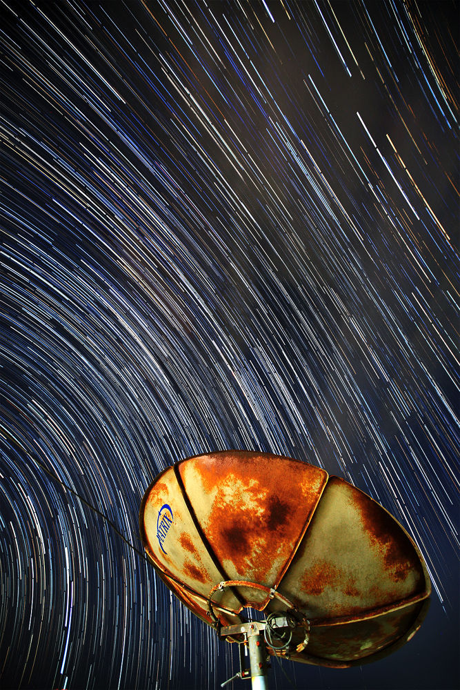 Photo in Astrophotography #night #dark #star #trails #object #blue