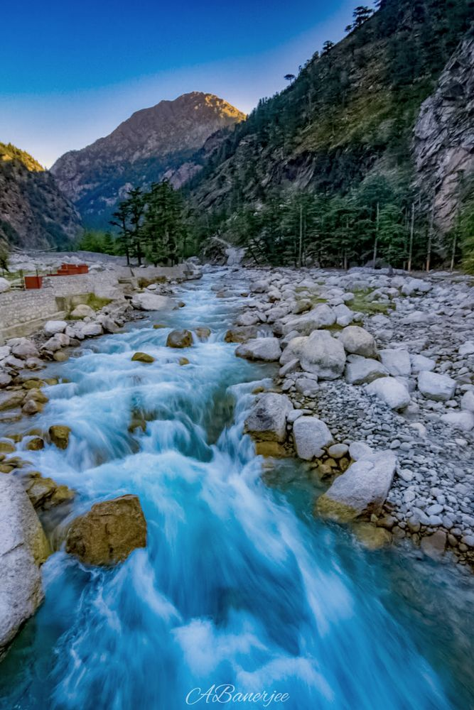 Photo in Landscape #travel #valley #water #river #stream #flow #blue #stone #hill #golden