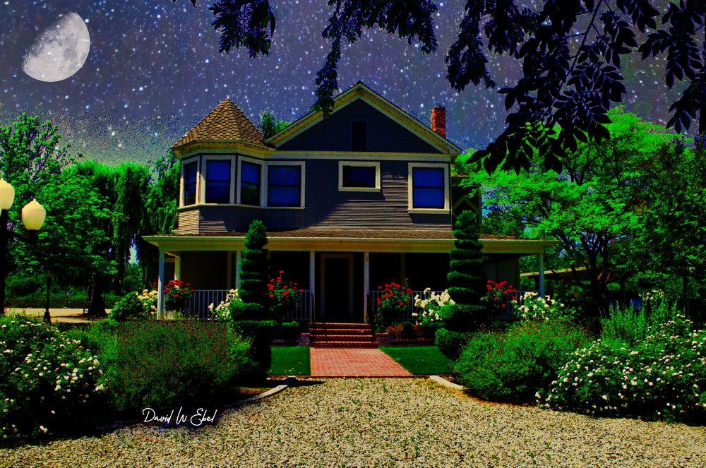 Photo in Rural #farmhouse #stars #moon #beautiful