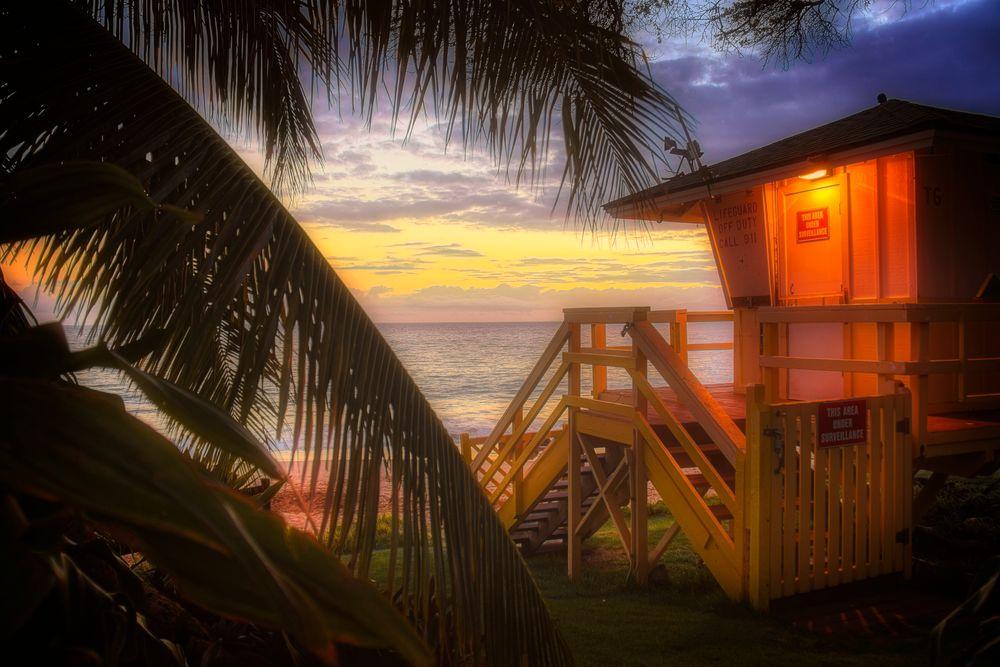 Photo in Sea and Sand #maui #hawaii #lifeguard #sunset #dusk #glow #ocean #seascape