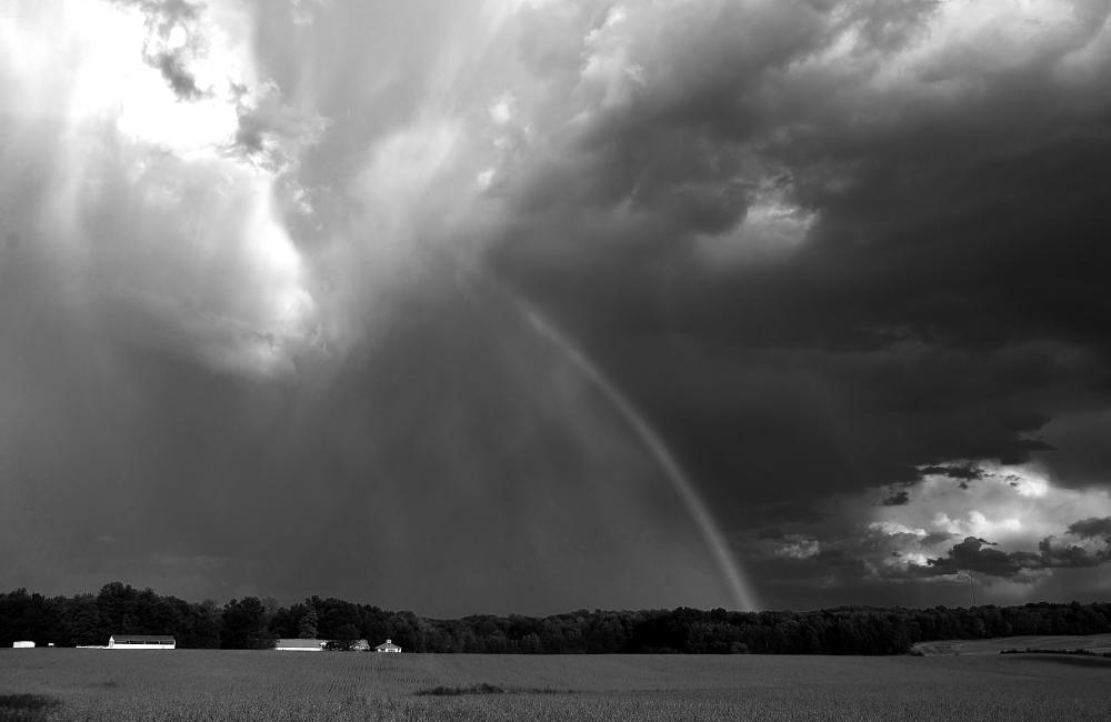 Photo in Black and White #rainbow #farm #field #meadow #storm #rain #cloud formatiom #bean field