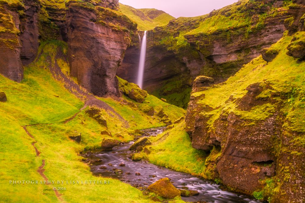 Photo in Landscape #kvernufoss #iceland #south iceland #southern iceland #waterfall #river #stream #beautiful landscape #long exposure #green #lush
