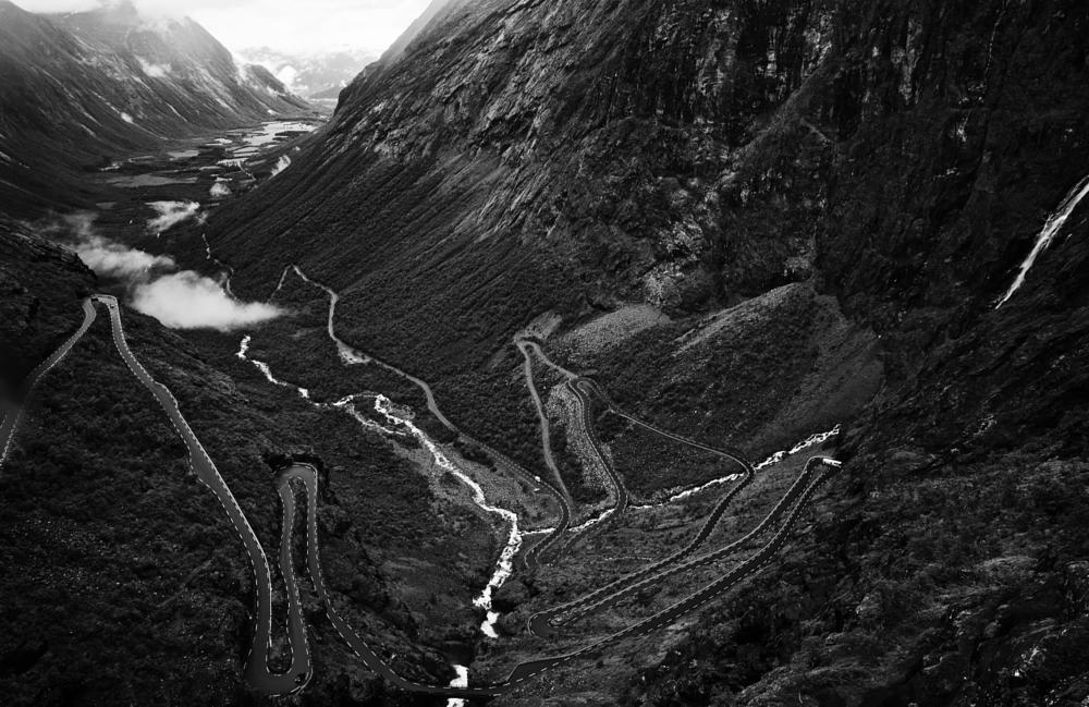 Photo in Black and White #trollstigen #norway #blackandwhite #landscape #road #contrast #nature