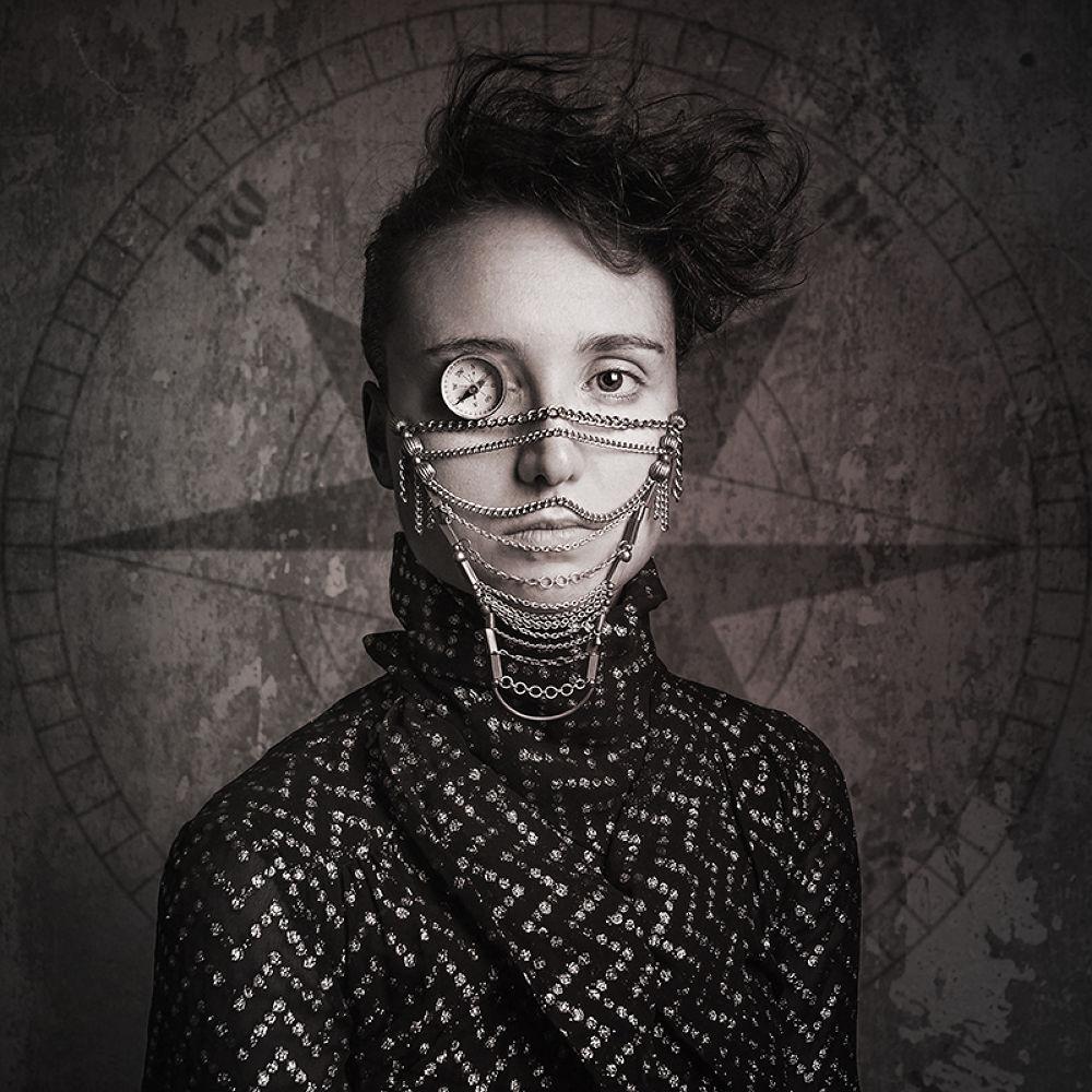 Photo in Portrait #woman #compass #black and white #fantasy