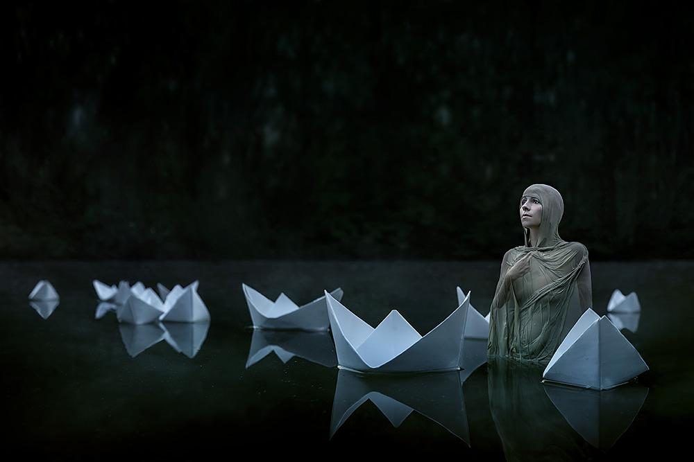 Photo in People #woman #water #fantasy #surreal #night