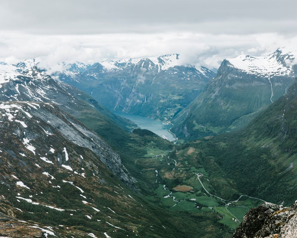 Photo in Landscape #geiranger #norway #fjord #mountains #landscape #green #roads #snow #edge #canon