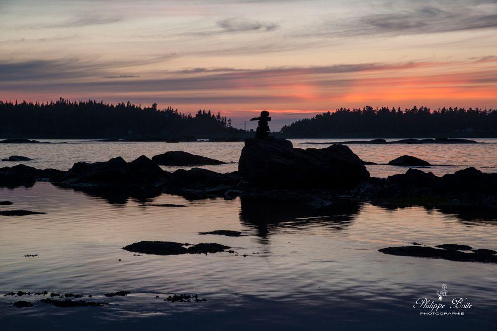 Photo in Landscape #stone #statue #sunset #metis beach #quebec