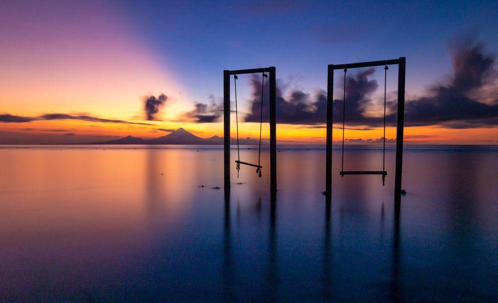 Photo in Travel #gili trawangan #gili islands #gili #lombok #indonesia #sunset #sun #longexposure #swing #sea #ocean #asia #volcano #mt agung