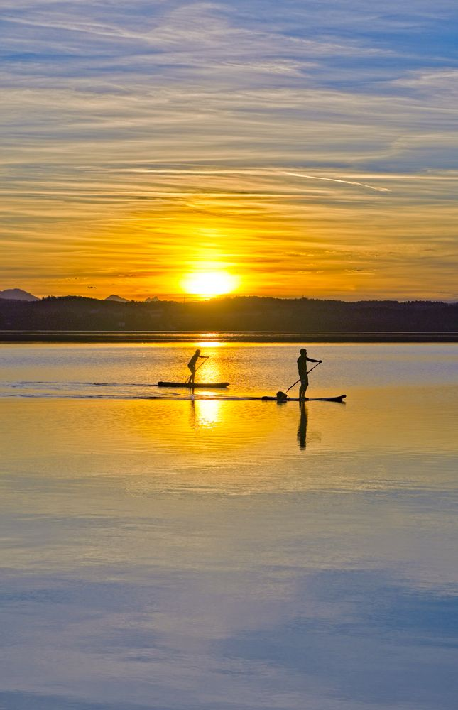 Photo in Landscape #reflection #sunset #lake #standup passling #outdoor
