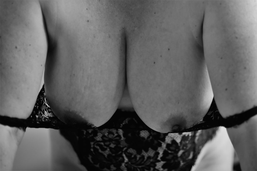 Photo in Nude #wife #nude #topless #milf #nipples #breasts #large breasts #natural breasts #natural light #lace #lingerie #bedroom #erotic #sexual #sensual #sexy #black and white