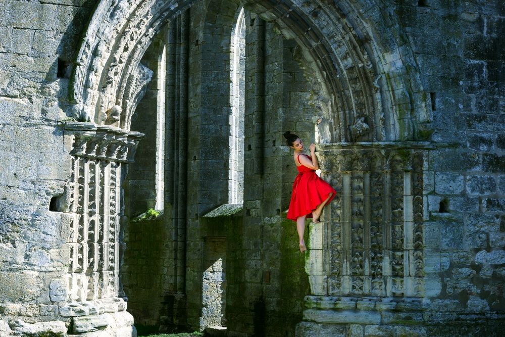 Photo in People #fabecollage #dancer #church #outdoors #dress #reddress #beauty #dance #beautiful woman #architecture