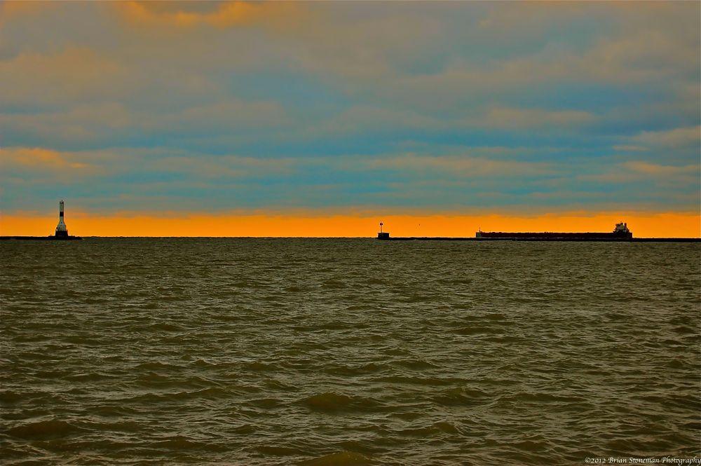 Photo in Random #harbor #lake #sunset #ships #ohio #erie #conneaut #ore