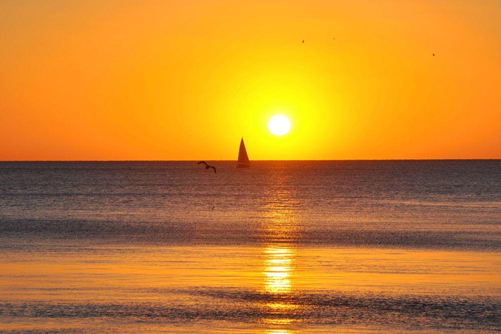 Photo in Landscape #sail #river #sunrise #yellow #sailing ship