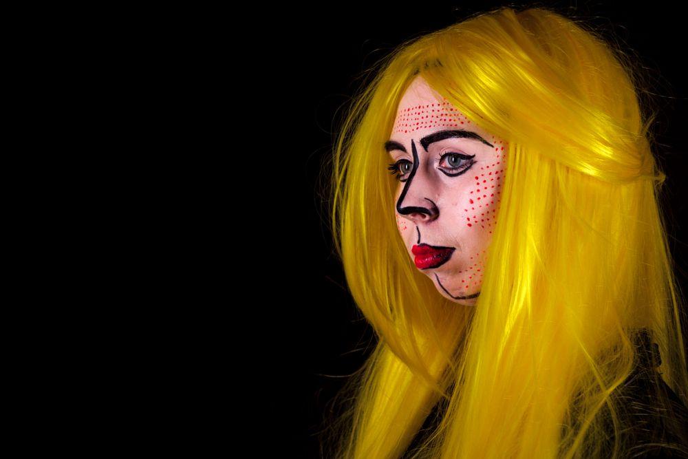 Photo in People #face #paint #facepaint #pop #art #popart #yellow
