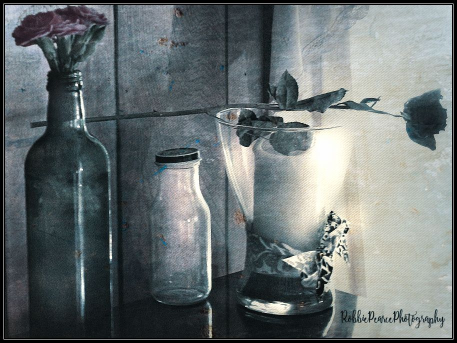 Photo in Black and White #random #light #black and white #product #still life #jars #candle #flower