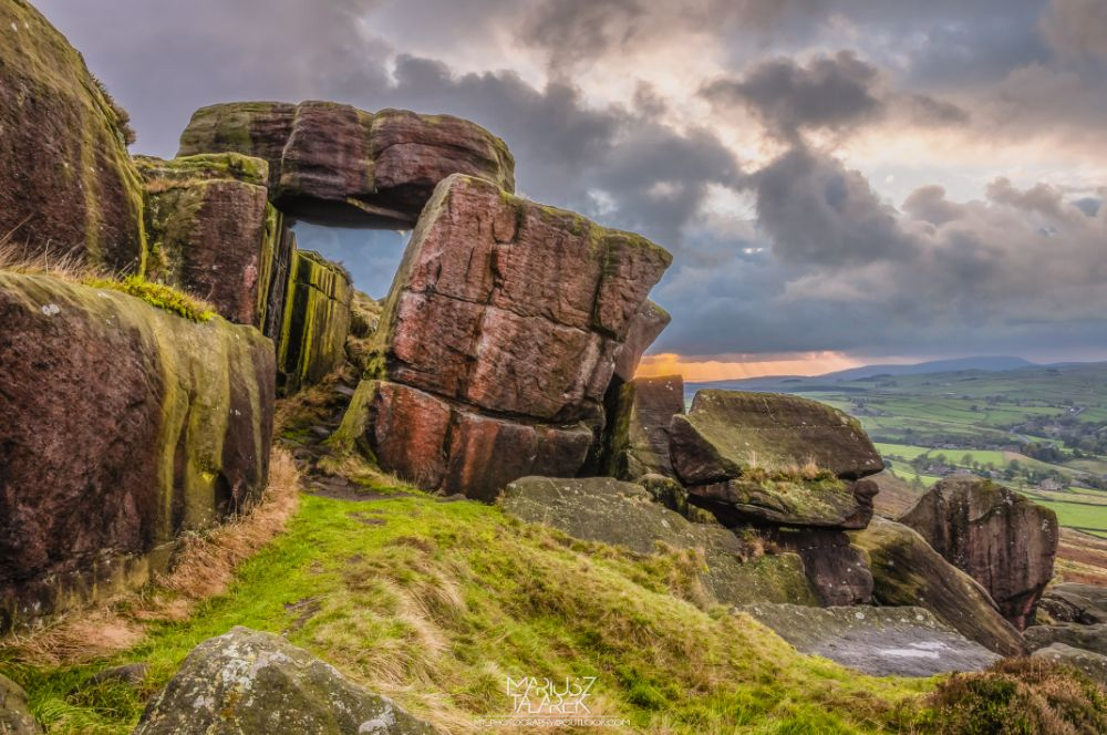 Photo in Landscape #landscape #nature #outdoors #rocks #sunset #golden hour #goldenhour #hdr #hdri #countryside #yorkshire #england #uk #walking #trekking #hiking #rambling #on a hike #photography #clouds #sky #cowling #earl crag