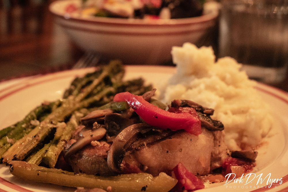 Photo in Food #food #pork #dinner #eal #table #potato #asparagus #hungry #eat #supper