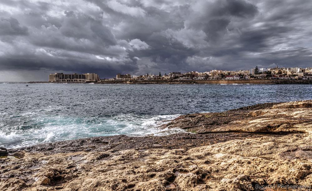 Photo in Landscape #sea #rocks #dark clouds #surf