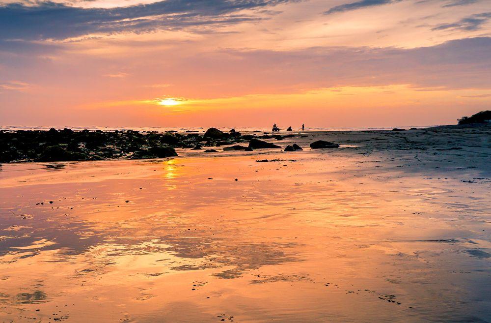 Photo in Travel #sunset #nature #colours #water #ocean #pacific ocean #nicaragua #evening #sunrise #light #seascape #landscape #atv riders #sand #shore