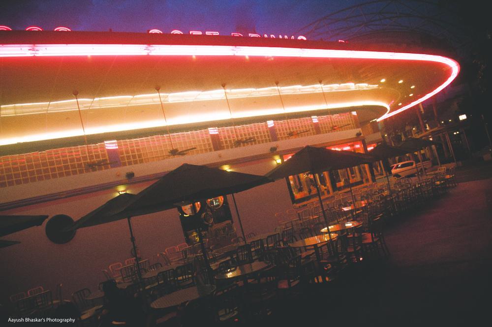 Photo in Cityscape #universal #studio #ring #fire #neon #lights #night #broadway #restaurant