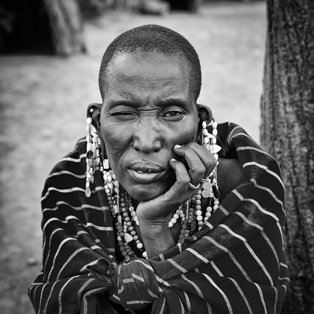 Photo in Black and White #black and white #portrait #masai #woman
