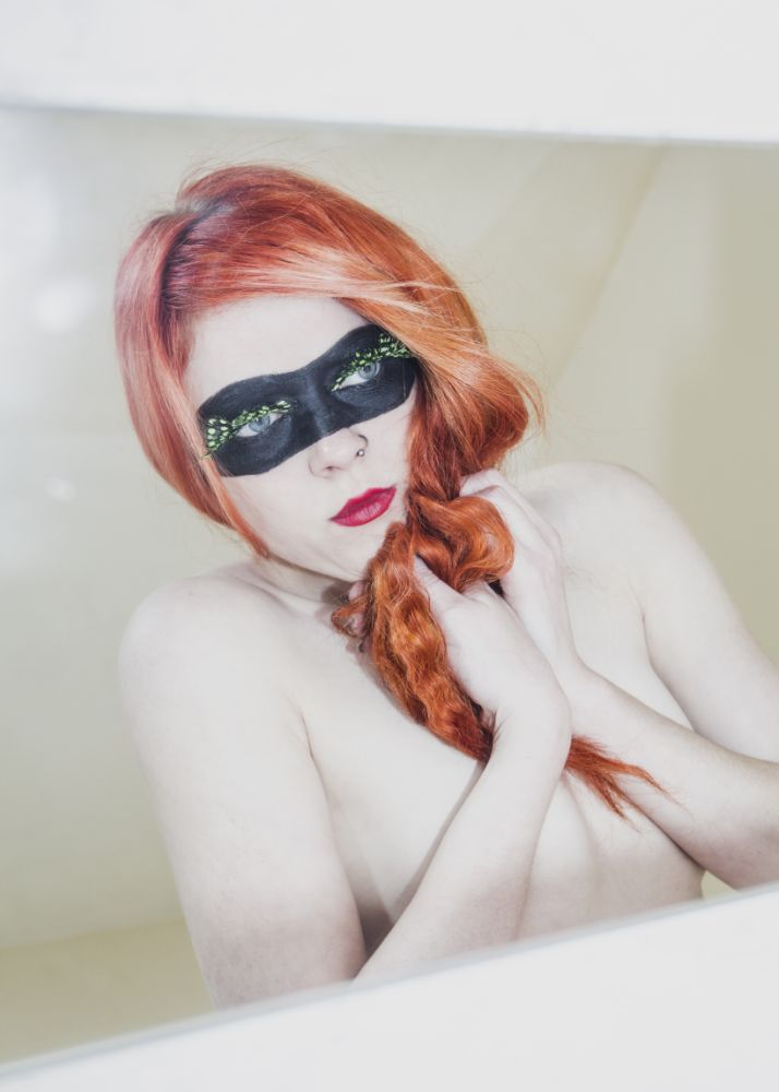 Photo in Nude #alicerage #model #scottish #aliceragemodel #redhead #orange #bright #catwoman #mask #lashes