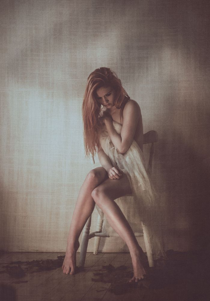 Photo in Fine Art #aliceragemodel #alicerage #model #redhead #implied #nude #sheer #pretty #dark #art #juliegibsonphotography