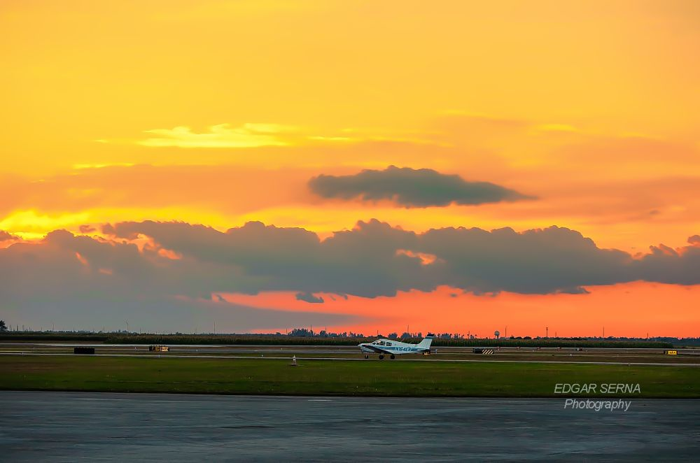 Photo in Nature #sunset #aircraft