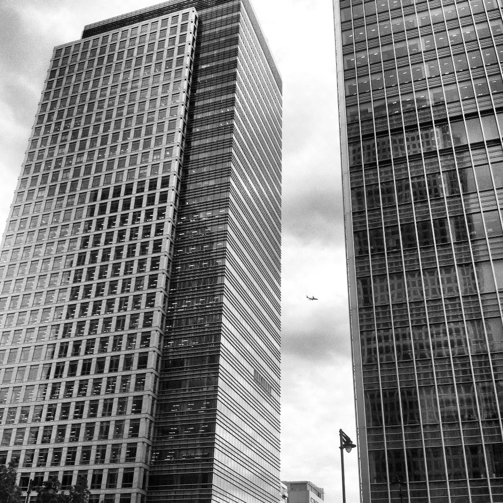 Photo in Black and White #canary #wharf #canary wharf #financial district #london #tower hamlets #glass #buildings #jp morgan