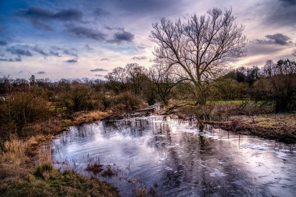 Photo in Landscape #landscape #river #spring #waterfall #tree #sunset