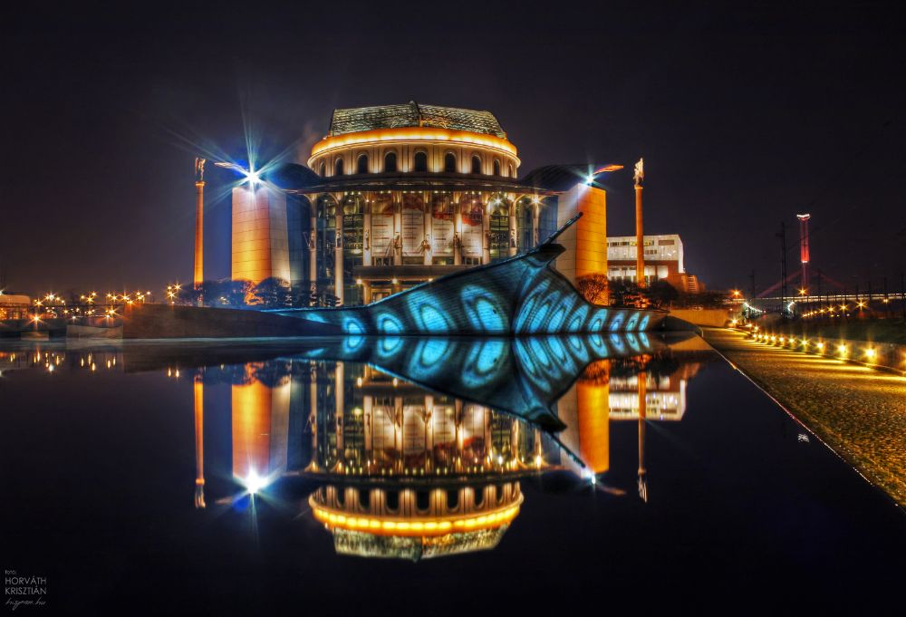 Photo in Architecture #budapest #hungary #building #mirror #water #theatre #canon #hdr #night #sky