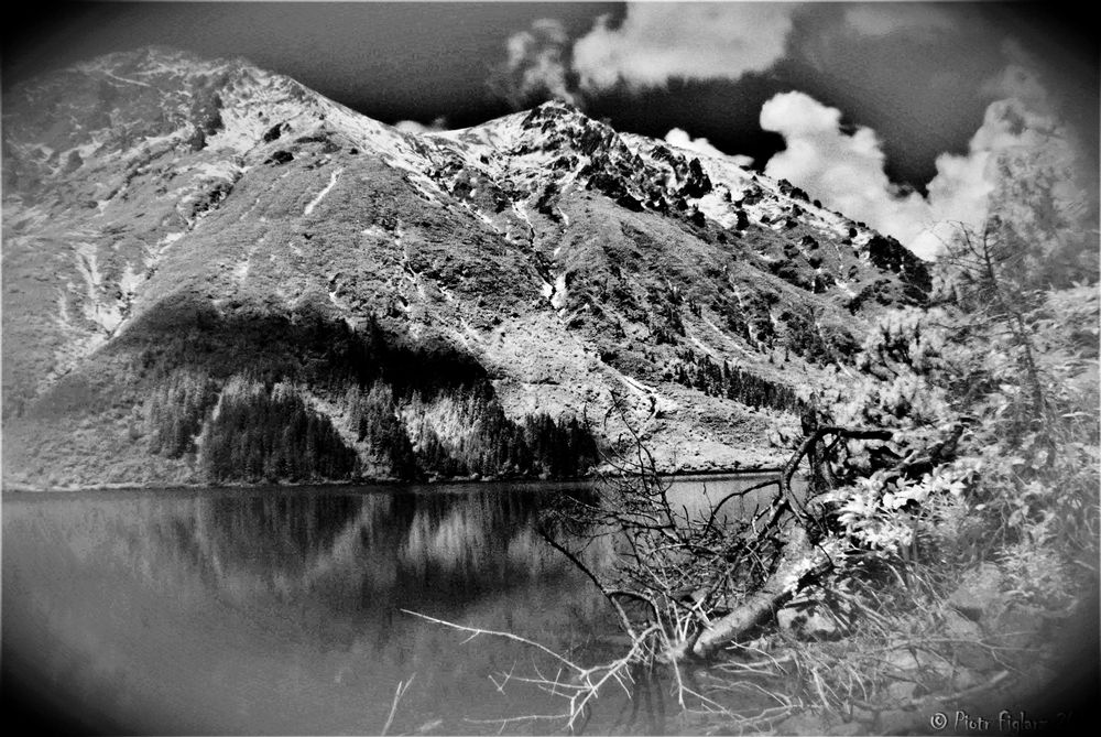 Photo in Landscape #black and white #mountains #valley #lake