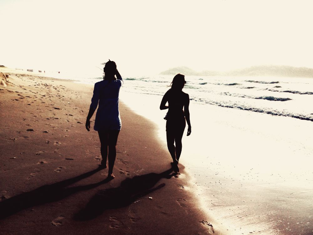 Photo in People #girls #walking #beach #sunset #florianopolis #sc #brasil
