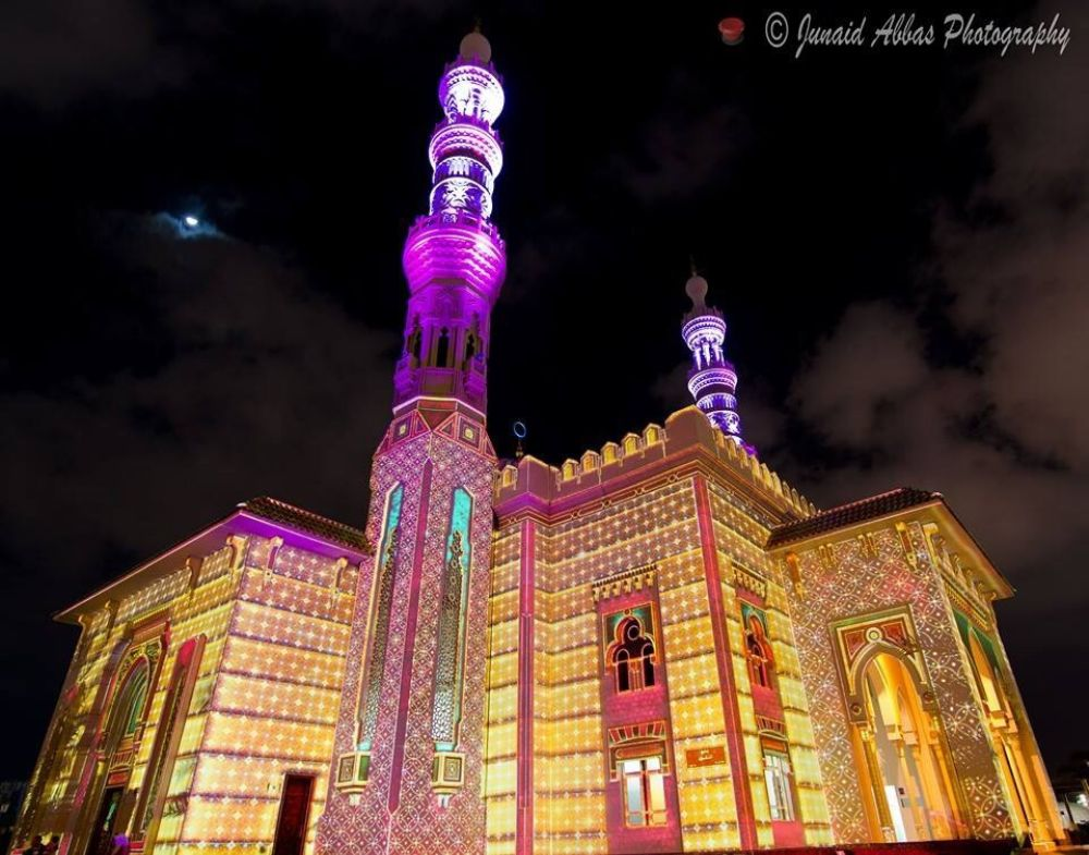 Photo in Architecture #mosque #masjid #sharjah #lights #light festival