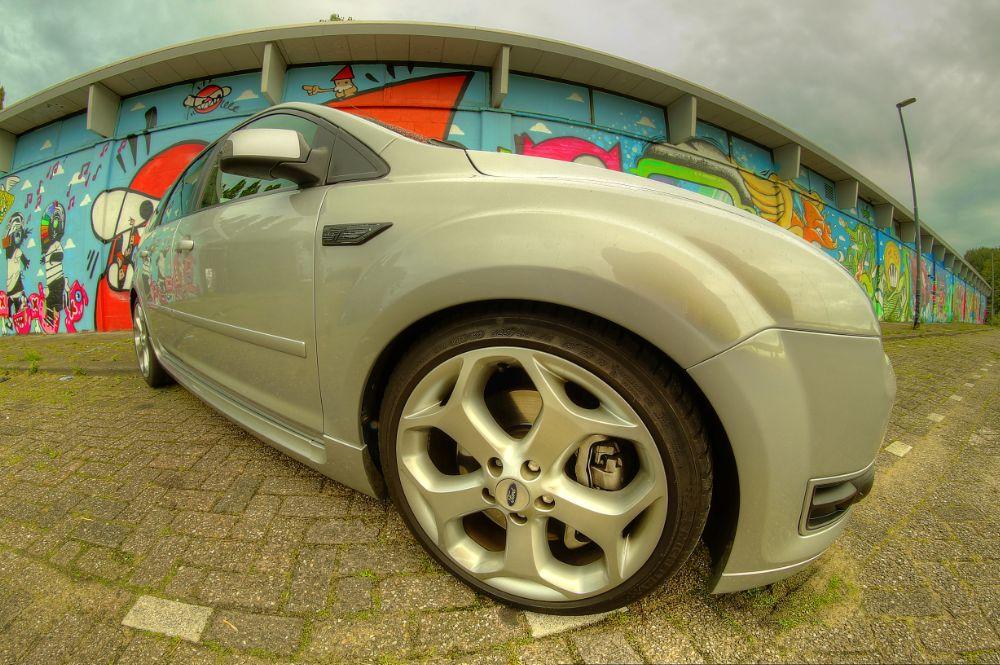 Photo in HDRI #hdr #ford focus #fish eye #graffiti