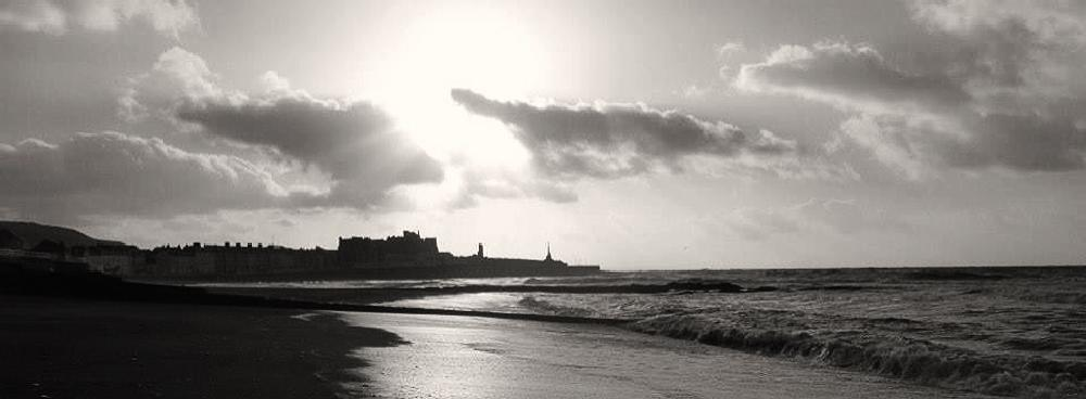 Photo in Black and White #wales #sea #ceredigion #aberystwyth #sunset
