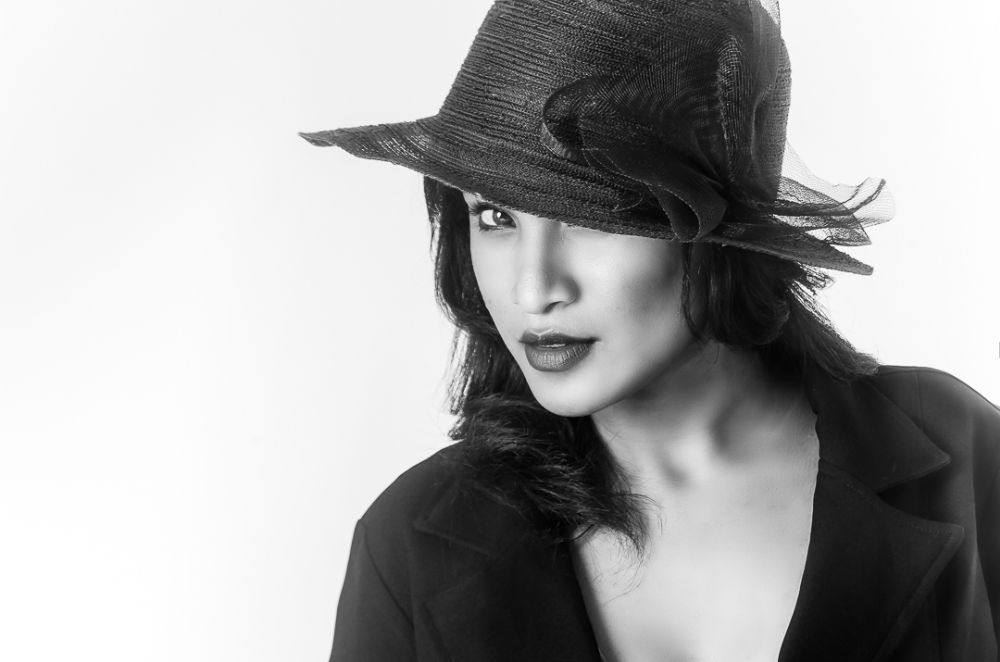 Photo in Portrait #female #black and white #bw #hat #classic #portraiture #girl #woman #highkey #solid #background