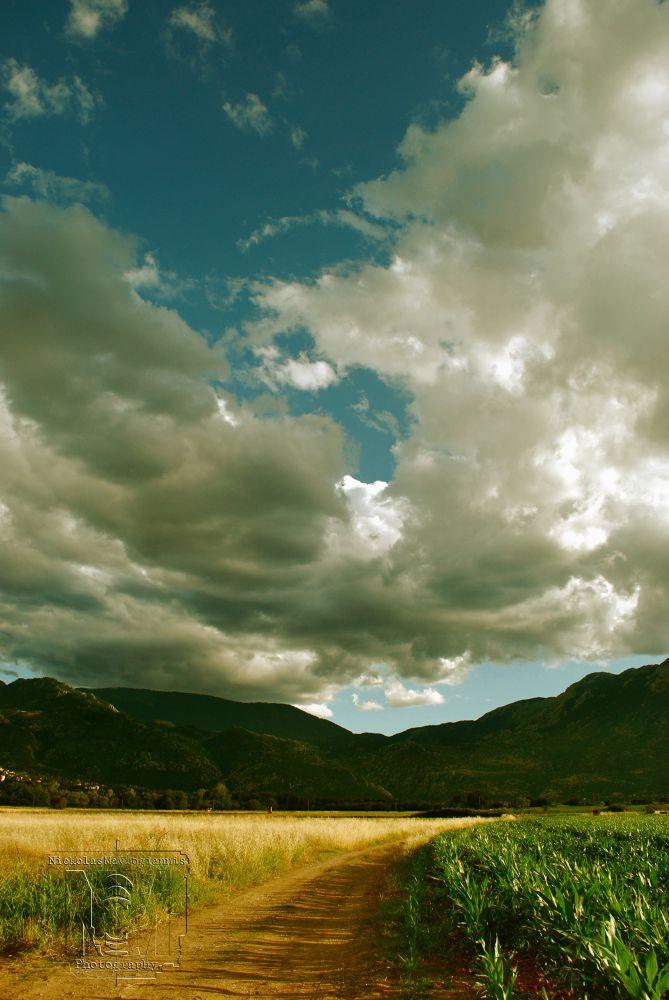 Photo in Landscape #sky #clounds #green #blue #grey #landscape #greece #amfiklia