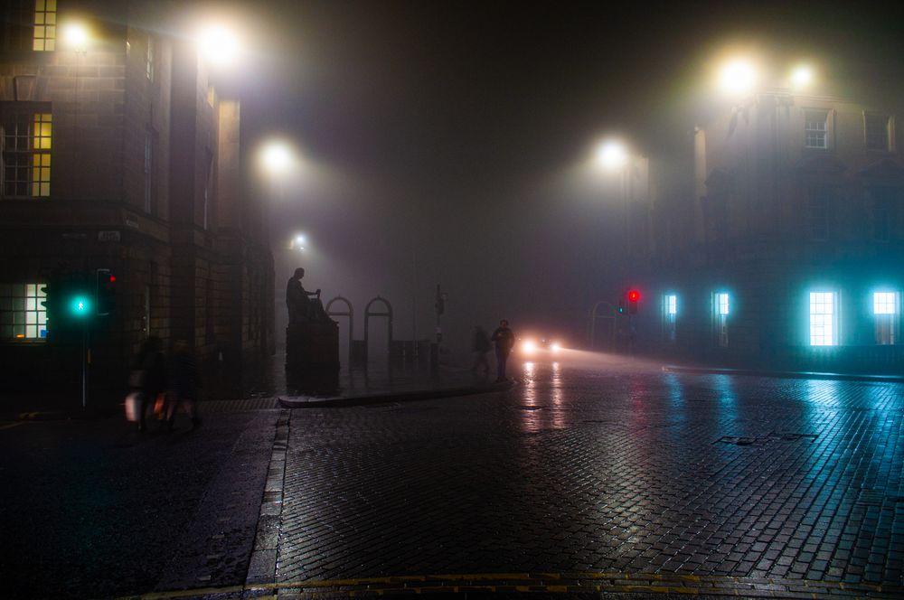 Photo in Street Photography #edinburgh #scotland #colour #streetphotography #fog #royalmile
