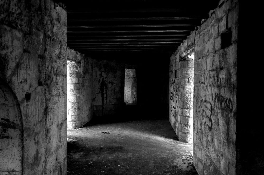 Photo in Architecture #corridor #fortress #travel #light #shadow #walls #stones #montenegro