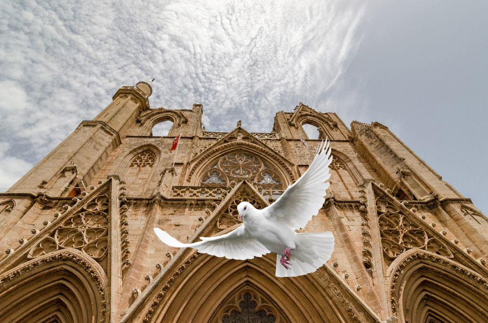 Photo in Random #pigeon #building #architecture #clouds #landmarks #historic site #medieval architecture #facade #travel #tourist #tourist attraction #sky #stock photography #statue #snapshot #urban area