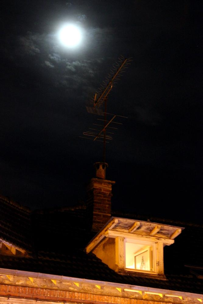 Photo in Architecture #moon #night #winter #christmas #roof #house