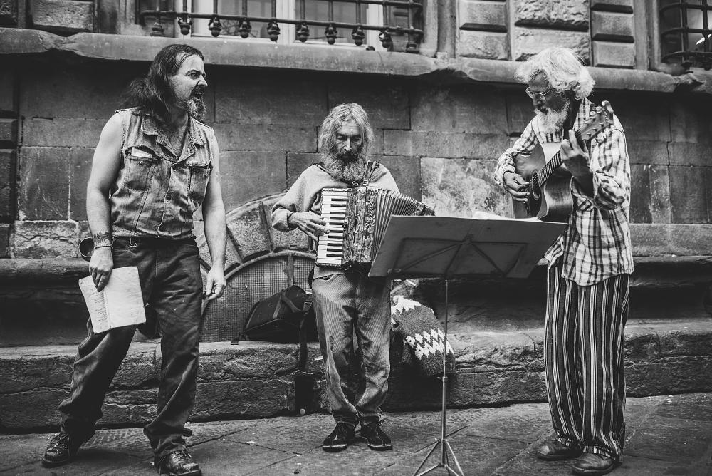 Photo in Black and White #street #band #blackandwhite #streetband #streetphotography #music