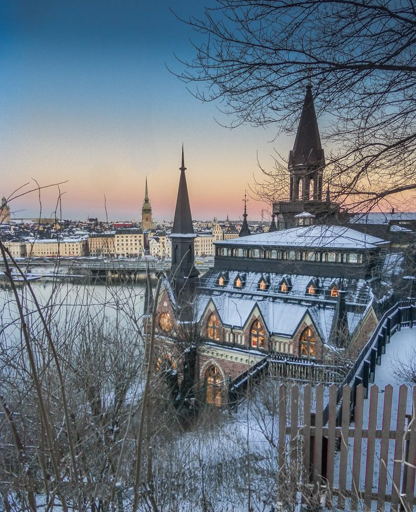 Photo in Cityscape #stockholm #cityscape #sweden #winter #snow #sunset