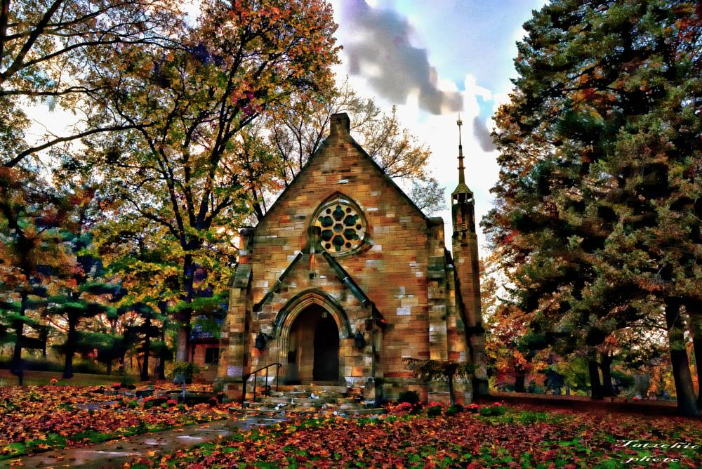 Photo in Architecture #chapel #cemetery #fall