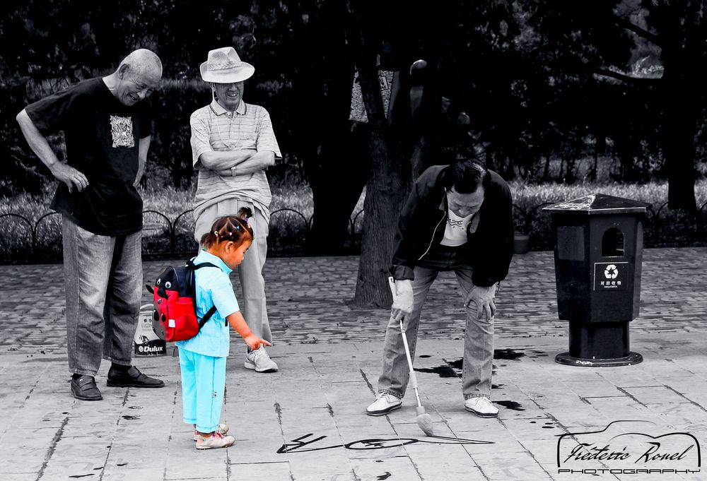 Photo in Street Photography #partial desaturation #street #chine #schoolgirl