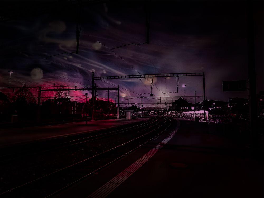 Photo in Random #station #sky #phantasy #railway #train